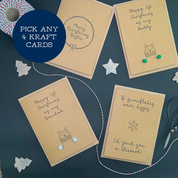 MIX & MATCH ANY 4 Christmas Cards, Eco-friendly Christmas Cards
