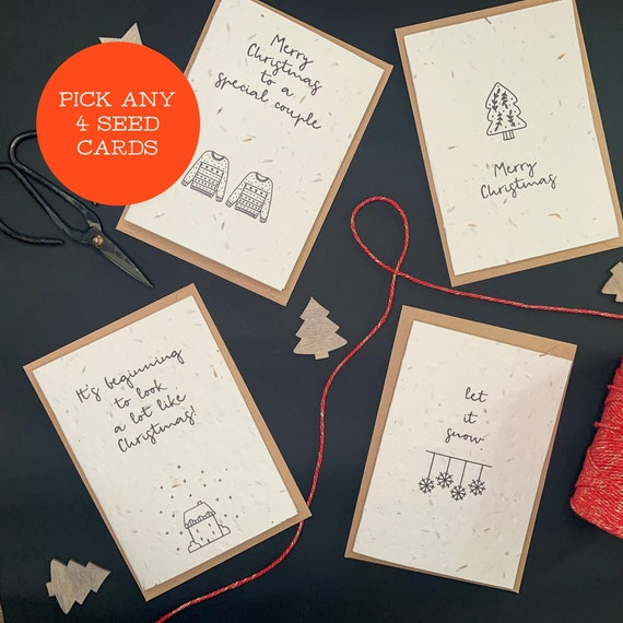 MIX & MATCH ANY 4 Seed Christmas Cards, Christmas Plantable Cards
