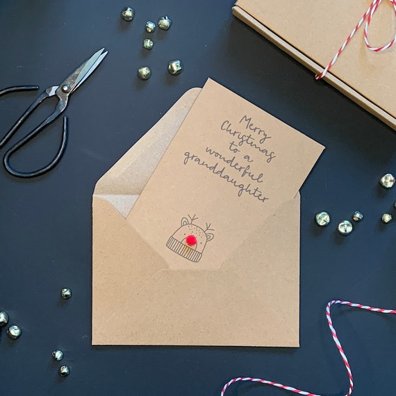 Granddaughter Christmas card, kraft Christmas card