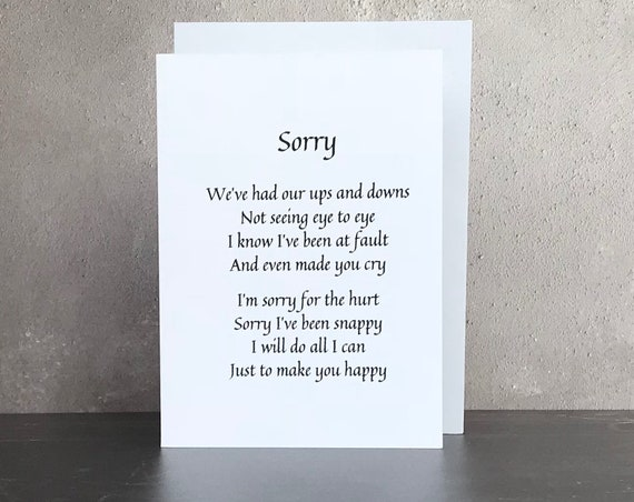 Personalised apology card