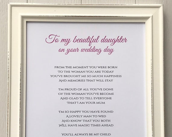 To my daughter on your wedding day