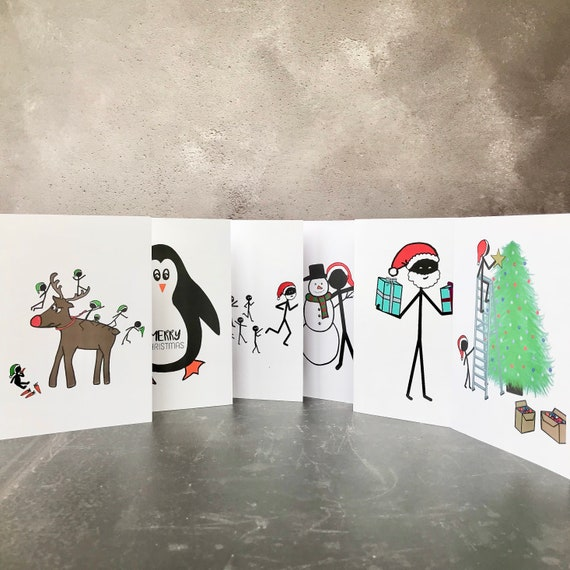 Set of 6 lighthearted Christmas cards