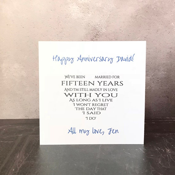 Personalised anniversary card for husband/wife