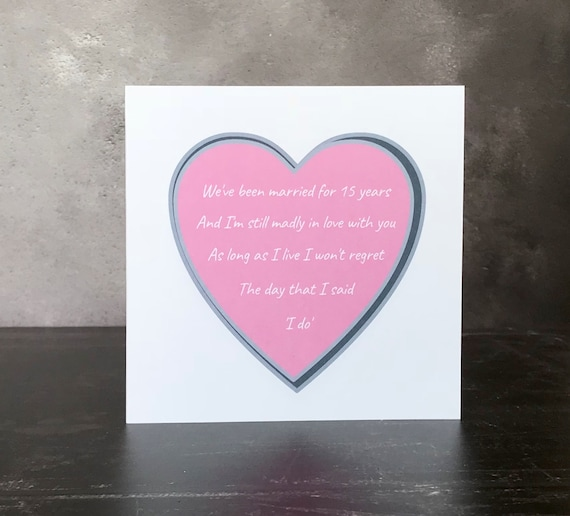 Personalised no regrets anniversary card
