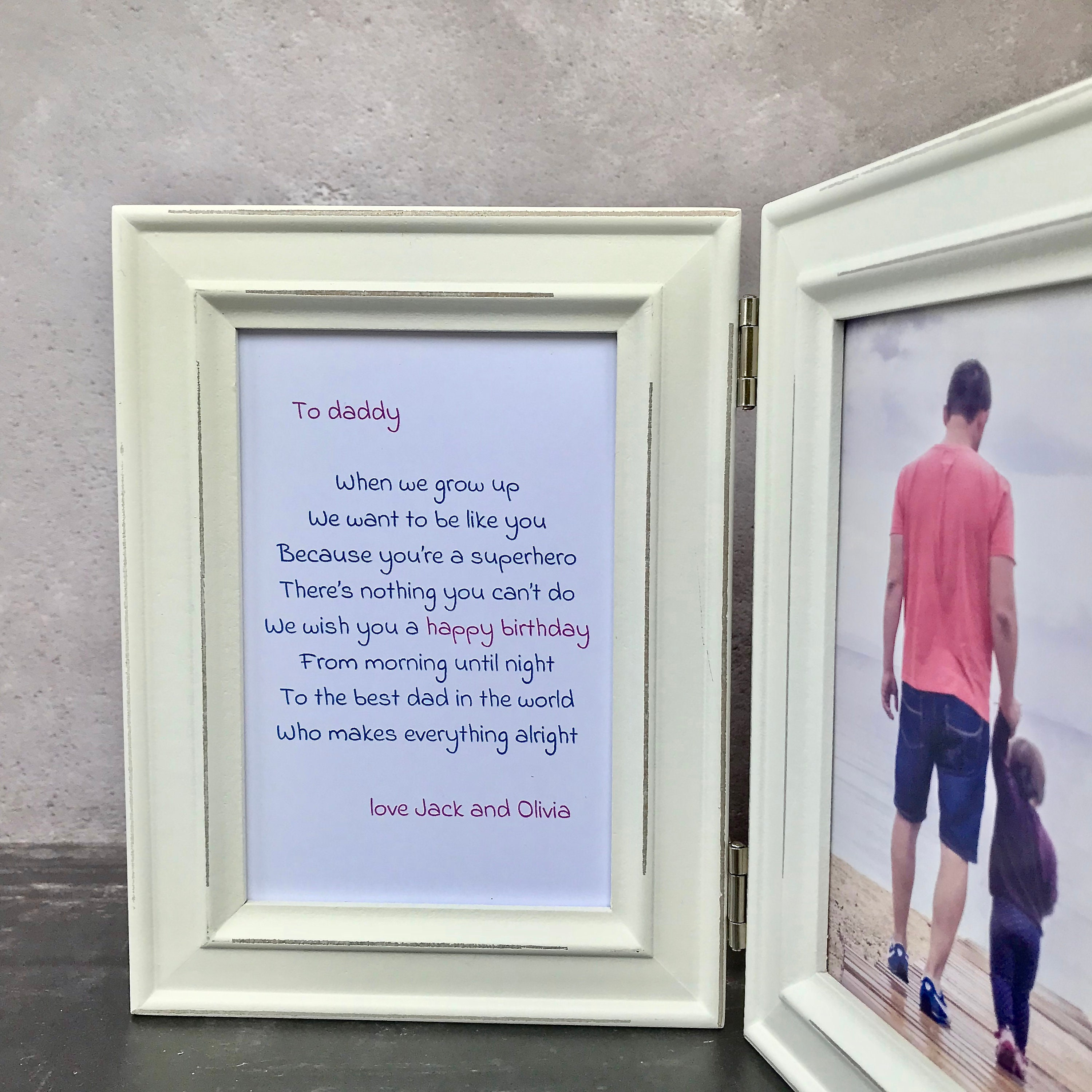 Birthday Gift For Daddy Personalised Poem In Double Distressed