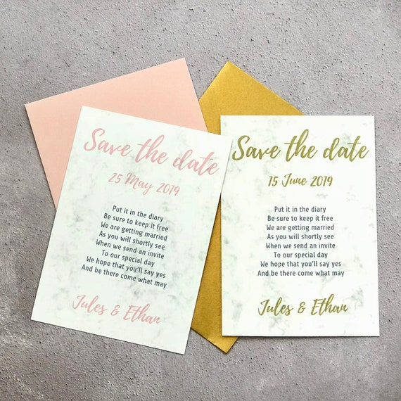 Personalised rhyming Save the Date cards