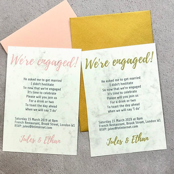 Rhyming engagement party invite (part of set)