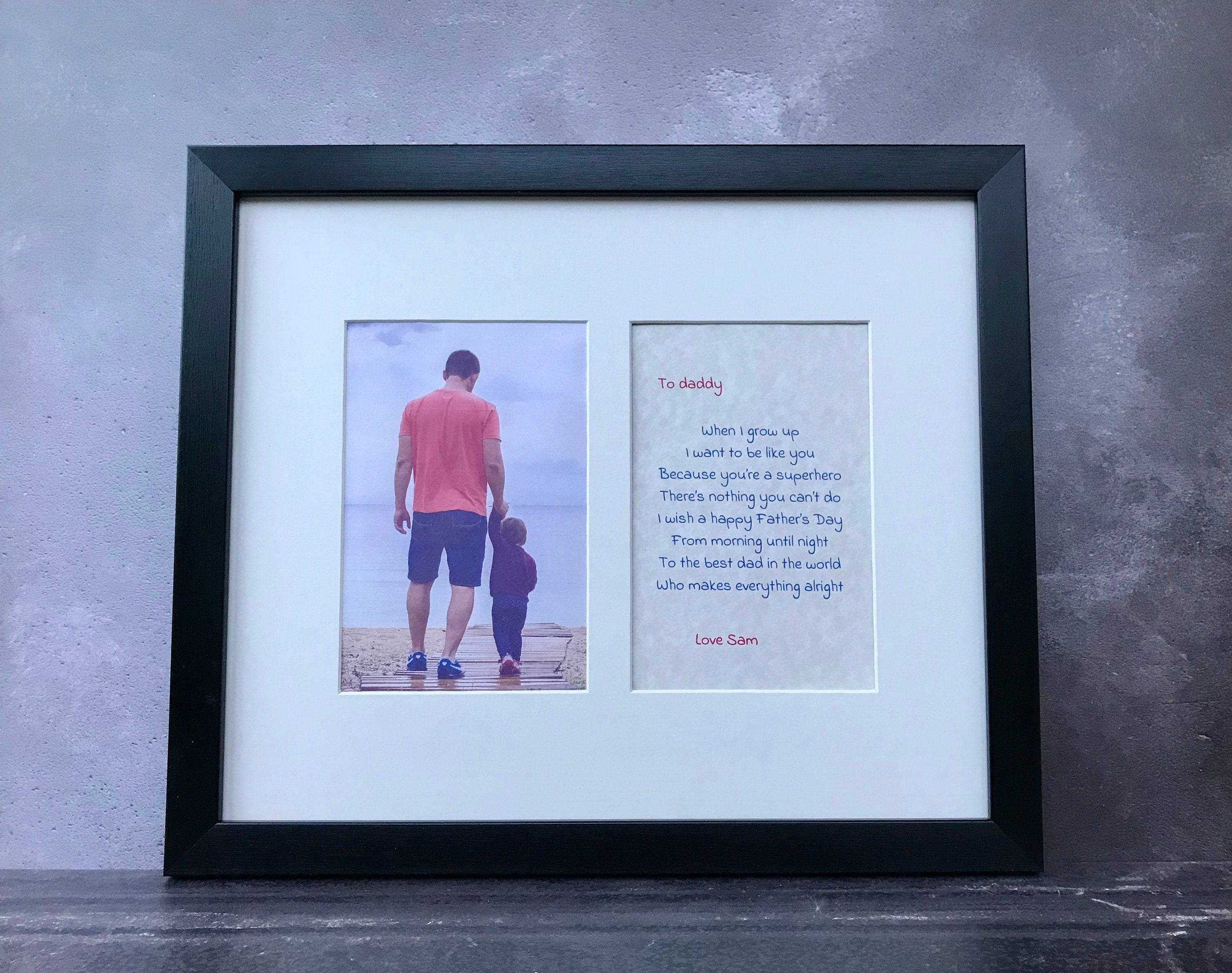 Personalised Poem In Photo Frame Father S Day Gift From Young Child