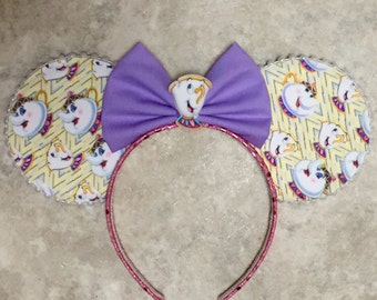 Ms Potts and Chip Beauty and the Beast Minnie Mickey ears, beauty and the beast mickey ears,  beauty and the beast minnie ears
