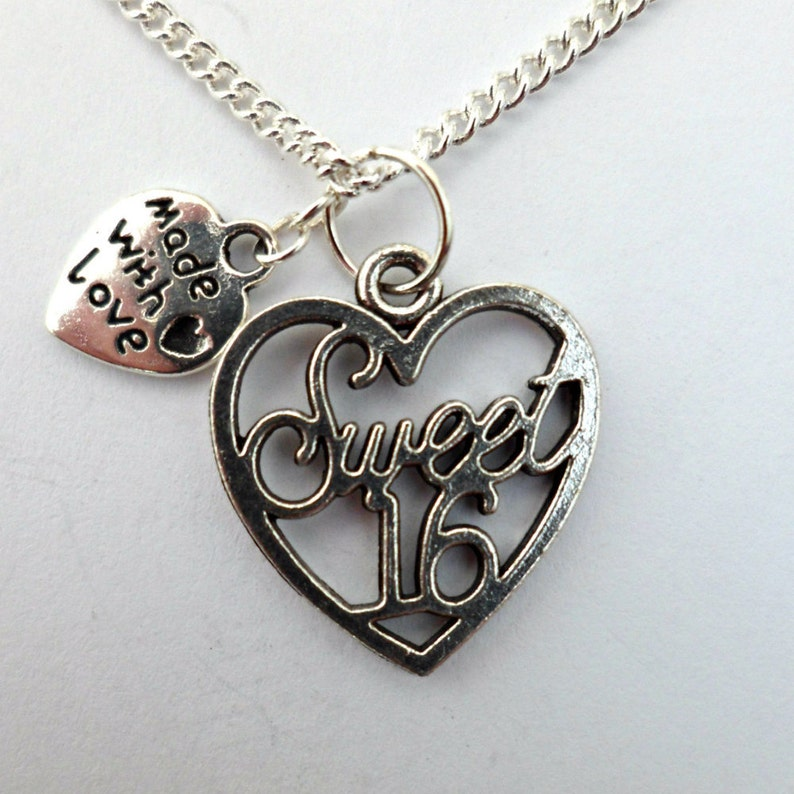 Silver pendant necklace sweet 16 heart charm love birthday gift multi choice