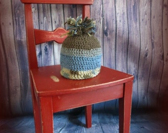 READY TO SHIP-Crochet baby hat little man, brown and grey, pompom, knitting, baby gift, gift idea, 3-6 months hat, hand made, ready to ship