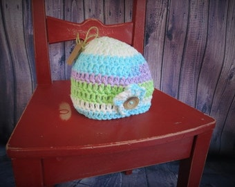 READY TO SHIP-Crochet baby hat/light coton hat/baby girl gift/baby girl shower gift/hat with flowers/baby accessory/hand made
