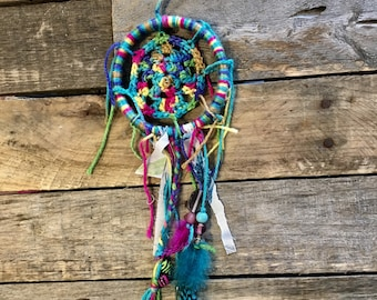 READY TO SHIP Dreamcatcher/room decoration/bad dreams/nightmare/gift/rainbow colored/wool, fabric, beads/dream catcher
