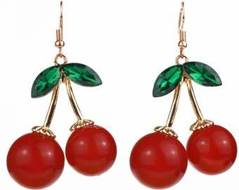 Large Cherry Earrings, Red Retro Fruit Jewelry, 1950's Kitsch, Rockabilly, Carmen Miranda, Burlesque, Pinup, Acrylic Rhinestones, Cherries
