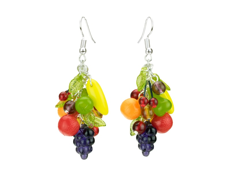 Retro Fruit Earrings  Handmade tropical fruit earrings in image 0