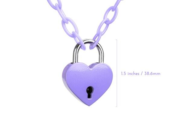 Pink Padlock Heart Necklace plastic chain 90s grunge choker Vintage retro