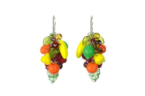 Vintage Carmen Miranda  Fruit Pin Brooch and Earrings