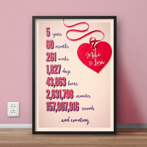 Personalisierte Zeit Zusammen Verbracht Jahrestag Geschenk Drucken Einzigartiges Geschenk Hochzeitstag Freunde Countdown Erstes Jahr 5 10
