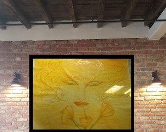 large, painting, amazing, Angel, divine face, figurativ, canvas, wall art .  glow & shine your wall , huge julery, for wall, express shiping
