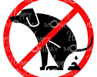 No Dog Pooping Sign Clipart Printable Pdf Svg Png Dxf Eps Files Ban Warning Pet Poops Pictogram Silhouette