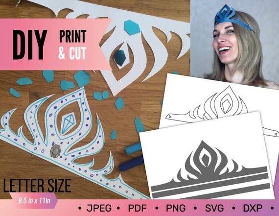 Frozen Elsa Tiara DIY Printable Crown Template
