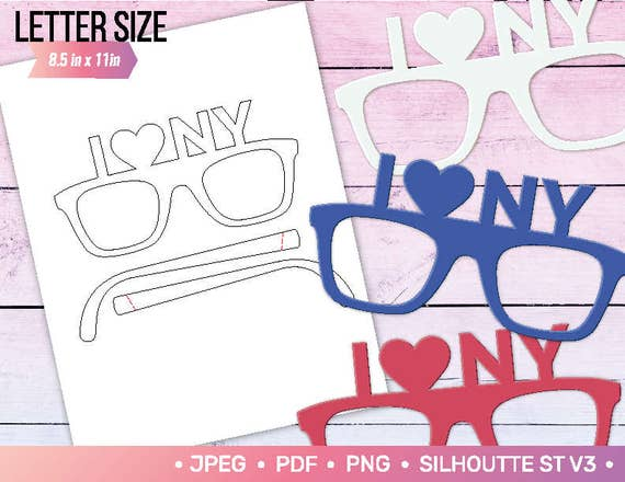 I Love Ny Photo Booth Props Party Glasses New York City Diy Etsy