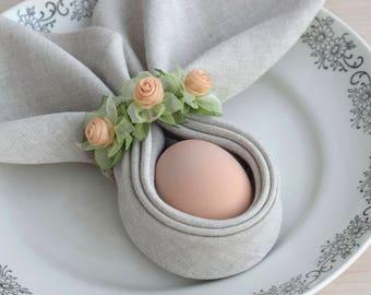 Silk napkin rings etsy silk flower napkin rings mothers day napkin rings green and peach table decorations wedding table decor napkin holders mightylinksfo
