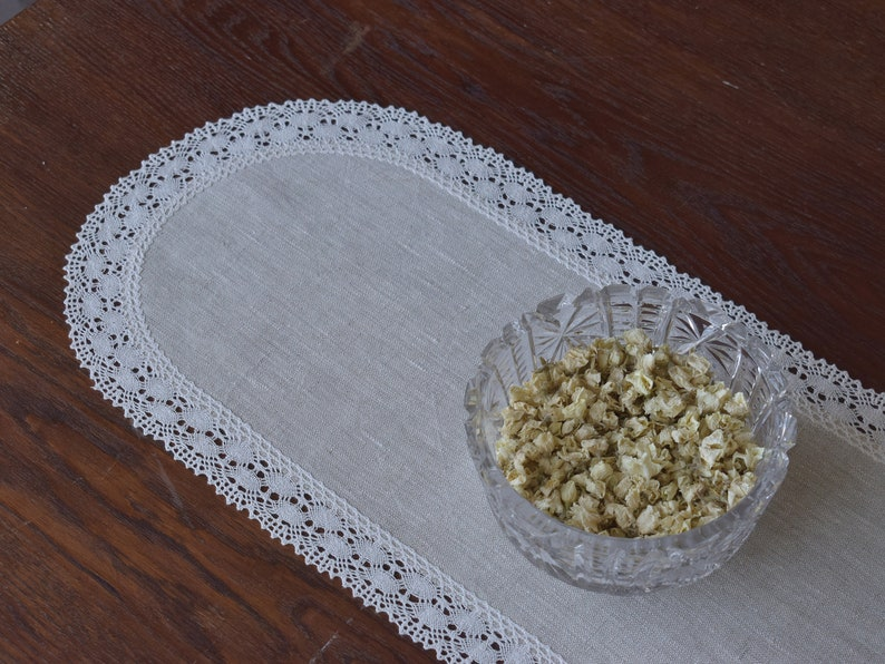 Linen doily table runner Oval lace dresser scarf 60 72 90 120 inch long 10-15 inch wide Rustic farmhouse table decor