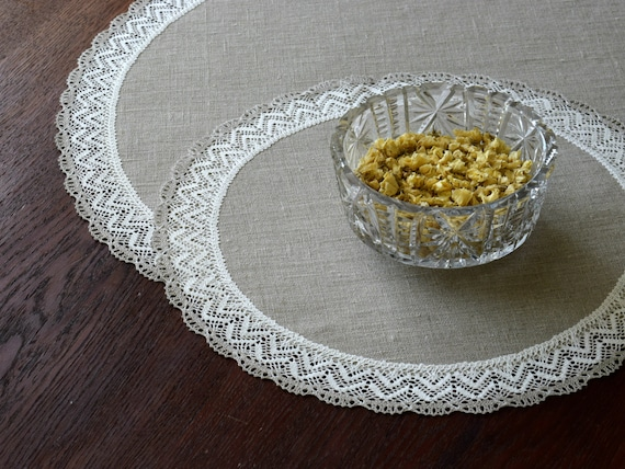 Natural Linen Doily Place Mat Round, Tablecloth For 20 Inch Round Table