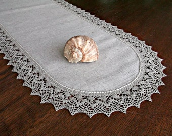 90 inch table runner Long table scarf Lace edge table runner Hostess gift Dining table centerpiece Housewarming gift