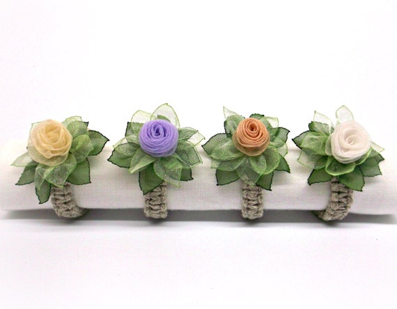 Handmade silk flower napkin rings set of 4 multicolor roses etsy image 0 mightylinksfo