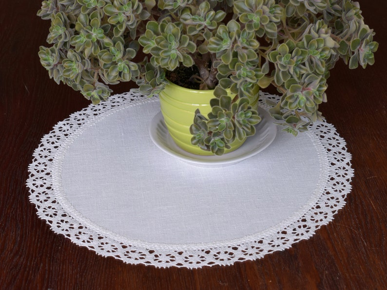 Modern Round Linen Lace Doily Small Large Placemat White Etsy