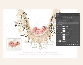 Newborn digital backdrop - PSD file with layers - Hammock with pure white background and flowers 2