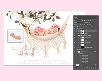 Newborn digital backdrop - PSD file with layers - Hammock with pure white background and flowers