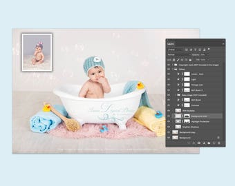 Baby Bathtub - Digital Backdrop /Props Newborn Photography - psd file with Layers