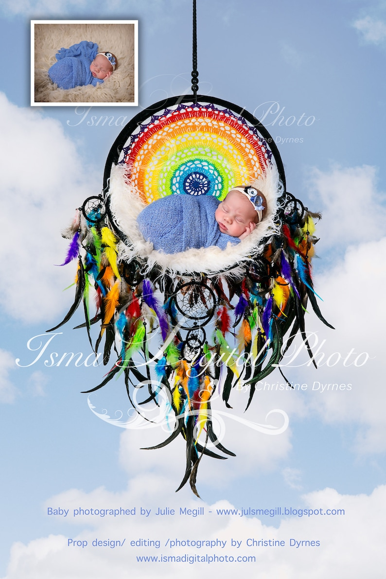 Colorful Dream Catcher With Sky Background - Beautiful Digital newborn  backdrop Prop download - psd file with Layers