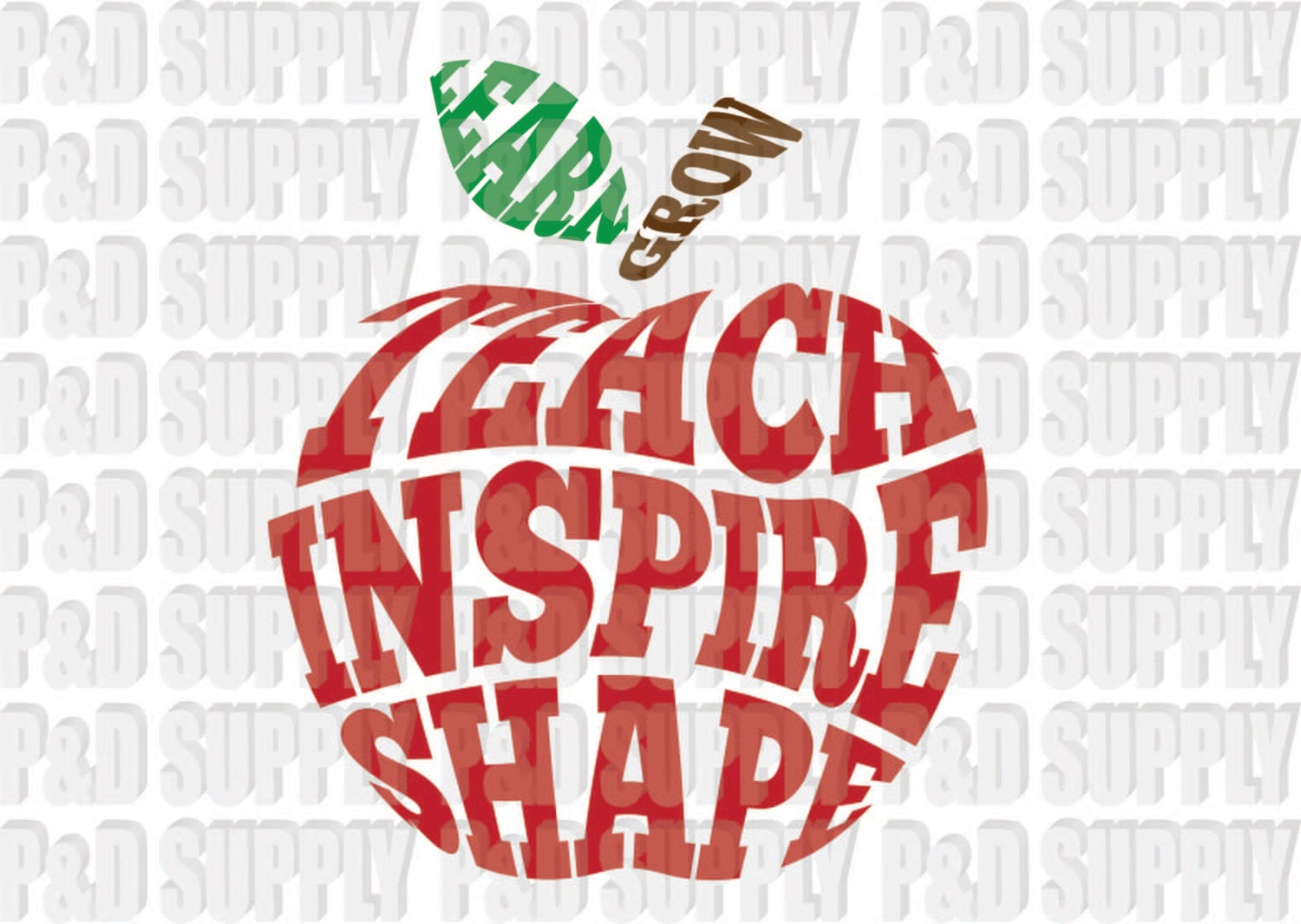 Teach Inspire Shape Apple Teacher SVG DXF Digital Cut file | Etsy