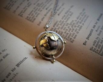 e599e8cb45d world globe necklace handmade,sterling silver world map pendant,compass  necklace,travel necklace,traveler gift,spinning pendant,gift for her