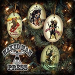 Krampus Ornaments, Set of Four, Porcelain with Gold Cord