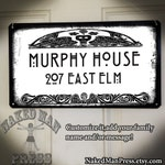 Custom Name, Hill House Lettering Metal Sign