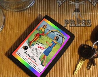 Gay Vintage Pride Rainbow Ad, Black TriFold Wallet