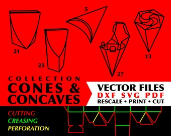 CONES CONCAVES Collection Of 5 Digital Templates Instant Download Box Template Svg Silhouette Cone File