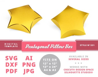 PENTAGONAL PILLOW BOX Five Star Instant Download Printable Digital Box Template Cricut Silhouette Svg Dxf Pillow Box Template Carnival Party