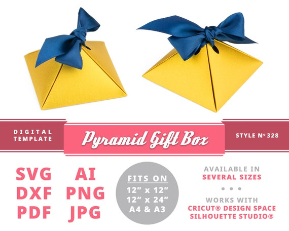 PYRAMID GIFT BOX Instant Download Printable Digital Box Template Cricut Silhouette Svg Dxf Proposal Ring Wedding Gifts