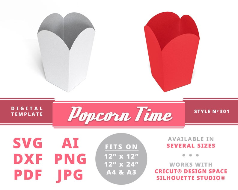 POPCORN TIME Lovely Party Boxes Instant Download Popcorn Box Template Favor  Boxes Treat Box Party Instant Download Bridal Shower Gift Box