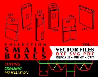 SMALL BOXES Collection of 18 Digital Download Gift Box Templates Paper Box Dxf Files For Laser Vector