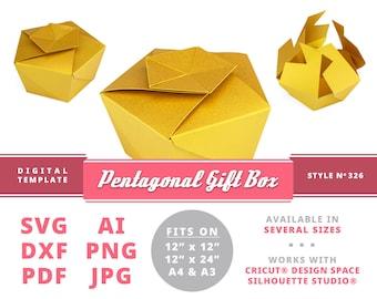 PENTAGONAL GIFT BOX Instant Download Printable Digital Box Template Cricut Silhouette Svg Dxf Cupcake Gift Box Cupcake Box Template Svg