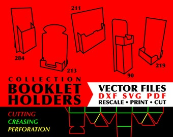 BOOKLET BROCHURE HOLDERS Collection of 5 Digital Download Packaging Template Files Digital Template Svg Box File Box Dxf