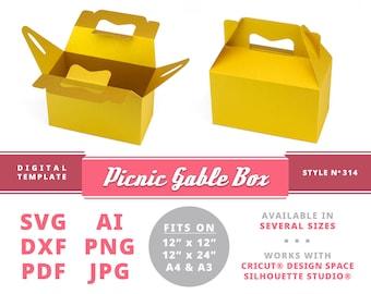 PICNIC GABLE BOX Svg Instant Download Printable Digital Box Template Cricut Silhouette Dxf Pdf Ai Png Jpg Display Svg Gable Box Template