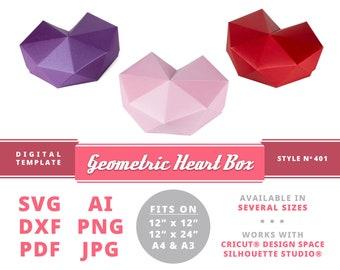 GEOMETRIC HEART BOX Love Box Valentine's Gift Box Cricut Template Silhouette Template Valentine's Day Box Valentine's Love Valentine's Decor